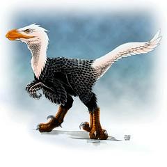 Daily Sketch II - Day #15,138 (hinxlinx) Tags: utahraptor dino dinosaur raptor theropods bald eagle bird feather animal creature