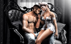 His treasure (meriluu17) Tags: boudoir black couple love kiss treasure bw them people portrait sitting kissing lingerie