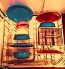 Fiesta ware in the dishwasher. (Cassi J) Tags: dishes ceramics fiestaware colorful vivid vintage
