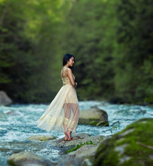 (Wendy Lu.) Tags: select wendylu canon5d lynn canyon vancouver nature beautiful creek water path forest green fantasy dream surreal asian girl long hair yellow dress prom gown sitting standing immersed