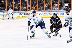 "Kansas City Mavericks vs. Florida Everblades, February 18, 2018, Silverstein Eye Centers Arena, Independence, Missouri.  Photo: © John Howe / Howe Creative Photography, all rights reserved 2018 • <a style=""font-size:0.8em;"" href=""http://www.flickr.com/photos/134016632@N02/39491134935/"" target=""_blank"">View on Flickr</a>"