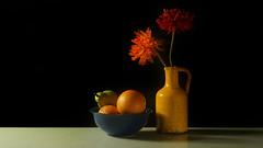 Yellow vintage vase ... 044/365 (judith511) Tags: odc vintagestyle stilllife vase flowers fruit bowl blackbackground