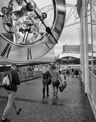 Tick tock ... (jrose45) Tags: birmingham city rush blackandwhite bw busy time clock hurry bullring station newstreet grandcentral