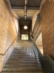 Up (Melinda Stuart) Tags: brick stairs stairway steps risers railing passage light academic campus uc berkeley historic nrhp hearst hearstmining
