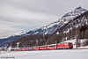 Rare in red (VTZK) Tags: churfilisurstmoritz ge443 rhb trein samedan graubünden switzerland ch business train railscape railscapes passenger transport transportation rail railroad sustainable zug bahn mobility photo image spoorweg chemindefer spoorlijn eisenbahn rhätische alps mountains snow winter gourmino