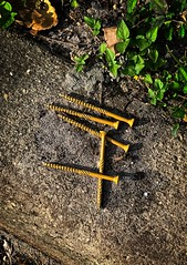 Group of Five (LarryJay99 ) Tags: debris nails leftbehinds tools items flickr outside rough raw