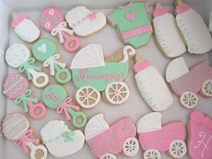 cookies (5) (backhomebakerytx) Tags: baby shower cookies hand decorated drawn cute girl rattles bottles carriages booties onesies