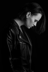 No stop (miguel_lorente) Tags: portrait netherlands tattoo bnw blueeyes young sony pose blackandwhite fitness beautiful beauty girl redlips studio jacket shorthair leather fit black model people amsterdam bw