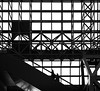 Futurist (thedailyjaw) Tags: kyoto train station escalator monochrome blackwhite bw frames frame lines intersection intersecting cross geometry architecture shapes form function culture japanese japan medical mask nikon 50mm futurist