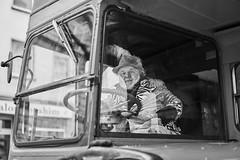 Mainz Street Rosenmontag Mann 381 b&w (rainerneumann831) Tags: bw blackwhite street streetscene ©rainerneumann urban monochrome candid city streetphotography blackandwhite mann bus mainz portrait rosenontag