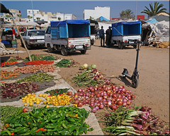 the E-scooter on the market (mhobl) Tags: escooter market sidiifni maroc morocco vegetables