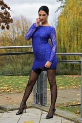Melania 24 (The Booted Cat) Tags: sexy model girl minidress nylon nylons stockings heels highheels