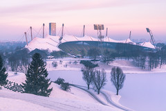 Good Morning Olympia (redfurwolf) Tags: munich olympicstadium olympia stadium winter snow sunrise sunsetlight o2tower runners outdoor architecture cold purple redfurwolf sonyalpha a99ii sony sonyimaging germany sport