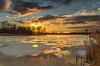 Hidden heat (piotrekfil) Tags: landscape winter sun cloud lake water ice snow reflections sky sunset pentax poland piotrfil