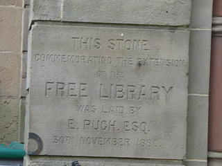 Bilston Town Hall - Church Street and Lichfield Street, Bilston - stone commemorating the extension of the Free Library in 1880