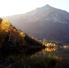 (Kévin Proust) Tags: landscape autumn lakescape lake france pyrénées lers étang reflection orange sunset mountain film bronicasqb bronica ektar kodakektar100 6x6 nature sunrise s