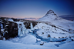 Kirkjufell & Kirkjufellsfoss (LalliSig) Tags: iceland landscape winter snow ice cold blue black white gray snæfellsnes mountain water waterfall kirkjufell kirkjufellsfoss frozen river january