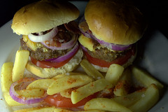 Double Cheeseburger and Chips (Tony Worrall) Tags: add tag ©2017tonyworrall images photos photograff things uk england food foodie grub eat eaten taste tasty cook cooked iatethis foodporn foodpictures picturesoffood dish dishes menu plate plated made ingrediants nice flavour foodophile x yummy make tasted meal nutritional freshtaste foodstuff cuisine nourishment nutriments provisions ration refreshment store sustenance fare foodstuffs meals snacks bites chow cookery diet eatable fodder burger chips fries
