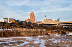 Fresh Angle at Cincy (Wheelnrail) Tags: csx ct junction train trains emd ge locomotive railroad cincinnati sunset skyline nati cincy winter cold rails sky blue q572 freight manifest bridge steel elevated track tracks