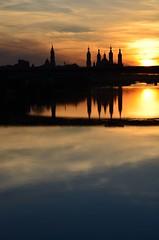 ...sunset in the ebro (josemonreal) Tags: sunset ebro polar zaragoza basilica