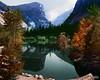 Ansel Adams Mirror lake, Mount Watkins, Yosemite National Park, 1937b (Alex Y. Lim) Tags: nature anseladams landscape trees autum colorized