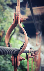 Hanging Around on the Suspension Bridge (benjamin.t.kemp) Tags: bridge rust colour suspension detail texture metal