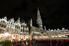 Grand Place in Brussels, Belgium (` Toshio ') Tags: toshio brussels belgium grandplace cityhall hoteldeville guildhouses night people europe european europeanunion square townsquare fujixt2 xt2 cafe restaurant pub flowers tent architecture