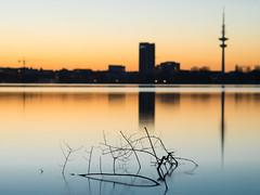 Sunset Lake 2 (Torsten schlüter) Tags: deutschland hamburg alster aussenalster sunset langzeitbelichtung olympus 45mm 2018 sonnenuntergang wasser dämmerung skyline