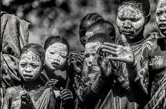 Ethiopia : Surma dance (B&W) #13 (foto_morgana) Tags: africa afrika afrique analogphotography analogefotografie ethiopia ethnic ethnicity ethnie etnia etniciteit facepainting kibish nikoncoolscan omovallei omovalley outdoor people photographieanalogue suri surma topazstudio traditionalculture travelexperience tribal vallebajodelomo valléedelomo vuescan