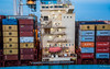 2017 - Regent Cruise - Miami - Maersk Saigon - 2 of 2 (Ted's photos - For Me & You) Tags: 2017 cropped miami nikon nikond750 nikonfx regentcruise tedmcgrath tedsphotos vignetting ship boat maersk maerskline maersksaigon stairs steps containers containership stacks containerstacks ccni hamburgsud msc portofmiami portmaimi railing lifeboat red redrule