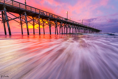 Morning's First Light (zachary.locks) Tags: beach coloful colors early exposure golden hour island leading light lines long morning motion movement moving nc northcarolina ocean pier pink pre sand sunrise surfcity topsail tripod water waves zlocks