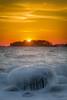 Iced Stone (Topolino70) Tags: canon600d ice winter cone snow sea sunset dusk yellow tree island lauttasaari helsinki finland