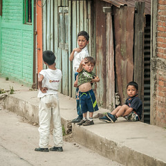 greetings from Antigua (Pejasar) Tags: boy boys four 4 street candid children gather together wave antigua guatemala