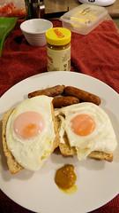 Breakfast is . . . (Sandy Austin) Tags: panasoniclumixdmcfz70 sandyaustin westauckland massey auckland northisland newzealand poachedeggs toast food breakfast