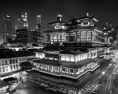 """Gong Xi Fa Cai """"Happy Chinese New Year"""" (Lucy Burtin) Tags: city architecture monochrome building sky temple singapore skyline skyscraper"""