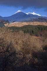 Ben Cruachan from Glen Nant (ShinyPhotoScotland) Tags: argyll scotland landscape nature bencruachan hollow mountain glennant hdr pentaxk1 enfuse light snow winter beautiful highlands skyearth bluesky trees white nearmidfar distance mixedlight darktable dappledlight cloudshadows