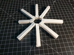 I thought combining umulius rectangulum and snapology would be interesting. My first build is going to be a Zeppelin - rather the framework structure. If it goes well, I'll do the Eiffel Tower and the International Space Station. (Nicholas Andrzejkiewicz) Tags: origami geometric modular snapology knotology