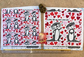 """""""Otter Love for Valentines Day"""", my original design, large and small scale fabric test swatches. Available as fabric, wallpaper and gift wrap. https://www.spoonflower.com/fabric/7145627-otter-love-valentine-s-day-large-scale-by-amy_g."""