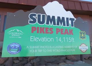Pikes Peak Summit Sign (El Paso County, Colorado)