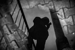 HOOD 163.365 (ewitsoe) Tags: hoody water uddle lookingdown obscure dark earlymorning commuter canon eos 6dii ewitsoe street urban man walking pedestrian cityscape warsaw poland polska monochrome bnw blackandwhite cityvibes atmsphere reflection puddles rain snow cold frozen 365 163
