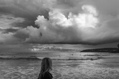 late summer at Freshwater beach 2013.  #P1070497 (lynnb's snaps) Tags: 2013 freshwater lx3 clouds digital landscape nature ocean beach cumulus waterspout australia sydney coast surfers girl watching blackandwhite bw bianconegro bianconero blackwhite biancoenero blancoynegro noiretblanc schwarzweis