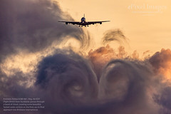 Emirates Airbus A380-861, Reg. A6-EDY Cloud Vortices at Sunset (ePixel Aerospace) Tags: emirates a6edy airbusa380 airbusa380861 airbus brisbane brisbaneairport cloud wakevortices vortices jetwash aircraft flight travel sunset orange