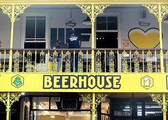 Cape Town, the Beer House on Long Street (Sokleine) Tags: beerhouse bierhaus bar pub architecture heritage victorian colonial creole metallic ironwork ferronnerie balcony balcon longstreet capetown lecap southafrica afriquedusud africa afrique yellow jaune