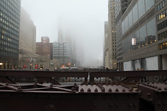 Riveting (Flint Foto Factory) Tags: chicago illinois urban city winter february 2018 downtown loop monroe chicagomercantileexchange chicagoriver monroestreet draw bridge fog mist wednesday lastday month rivet limited visibility pm afternoon rushhour riveting wacker cme group