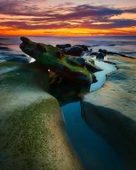 La Jolla Sunset: 1/14/18 no.2 (tltichy) Tags: lajolla beach blue green longexposure lowtide ocean orange purple reef rock sandiego seascape sunset