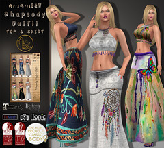 ***ArisArisB&W~Alus25~Rhapsody Outfit~Pic (ArisArisB&W - Ariadna Garrigus & Ayrton Radikal) Tags: mesh skirt long top halter tied tassels blouse boho bohemian butterfly dream catcher atrapasueños retro denim embroidery promotion slink maitreya belleza tmp tonic fitted gipsy