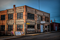 Boucher Bros. (Possum Jimmy) Tags: montana carriage auto car shop garage old ghost signs red brick small city blue sky