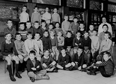 Class photo (theirhistory) Tags: children kids boys teacher jacket shorts trousers wellies chair shirt boots class form school pupils students education