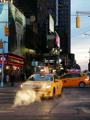 P1000995_New York night & smoke Stephanie CC Bourgeois (Stéphanie Bourgeois) Tags: rain newyork skyscrapper highline brooklyn bronx greenline statueofliberty hudson newjersey usa streetshots streetfood traffic blackwhite bw yellowtaxi peopleofnyc peopleofnewyork graffitis streetart road people car sign building smoke manhole billboards advertisements thebigapple