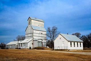 grain elevator and Pleasant Valley School